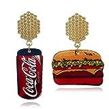 QiXuan Womens Cola Burger Juego de dos piezas chapado en oro Pendientes.