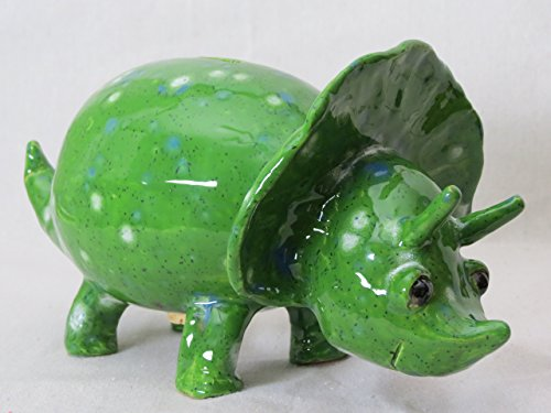 Dinosaur Kiwi Green Triceratops Coin Bank (T122)