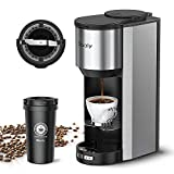 Sboly Coffee Machine Grind and Brew 2 In 1, Automatic Single Serve Coffee Maker with 16oz Travel Mug and Built-in Grinder, Strength Setting, Stainless Steel