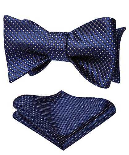 HISDERN Men's Navy Blue Polka Dots Bow Tie Self-Tied Formal Tuxedo Men Bowtie and Pocket Square Set for Wedding