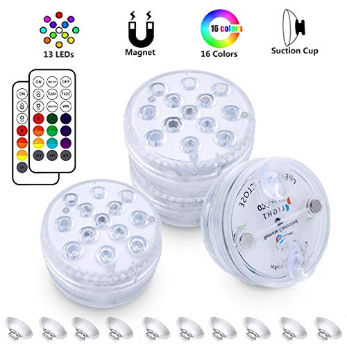 DreiWasser Unterwasser Licht, Poolbeleuchtung RGB LED Beleuchtungen 4 Stück mit RF Fernbedienung für Schwimmbad, Aquarium, Garten, Badezimmer und Garten