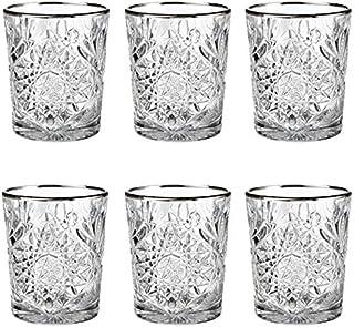 Libbey - Hobstar - Whiskyglas, Wasserglas, Saftglas - Kristall - mit edlem Silberrand - 6 Stück
