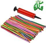 WOWOSS 200 Pezzi Palloncini Lunghi Colorati per Modellismo con Pompa, 8 Colori Palloncino Magico Animali, Palloncini in Lattice per Forniture per Feste di Compleanno e Matrimoni