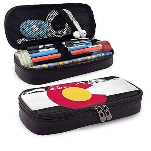 Estuche de piel con bandera de la montaña de Colorado retro, gran capacidad, resistente al desgaste, doble cremallera, bolsa de papelería