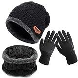 BDSMAGE Wintermütze Strickmütze Warme Mütze Kreis Schal Set und Warm Strick Handschuhe mit...