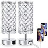 Touch Control Crystal Table Lamp Set of 2 Bedside Nightstand Lamps with 2 USB Charging Ports, 3-Way Dimmable, K9 Crystal Decorative Desk Lamp for Bedroom, Girls Guest Room, Living Room, Bulbs Included