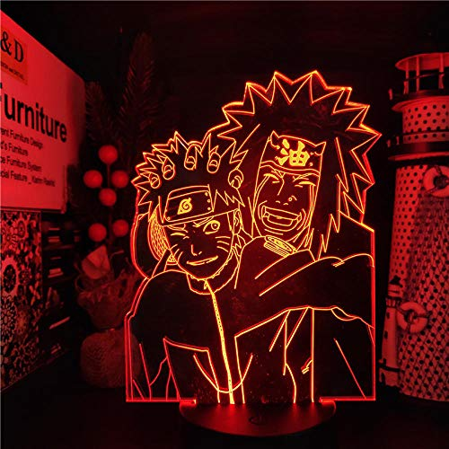 Luz De Ilusión 3D Luz De Noche Led Uzumaki Naruto Jiraiya Anime Lámpara De Mesa Cambio De Colores Naruto Visual Para Regalo De Navidad Cumpleaños Para Niños Regalos De Vacaciones