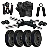 COMPASS SPORTS Dumbbell Set for Home Gym Workout Home Gym Kit with Skipping Rope, Hand Gripper, 8Kg Dumble Weight Plates & Gloves