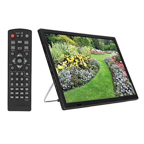 TV Portátil Monitor LED De 16 Pulgadas TV Digital Portátil HD 1080P MKV, MOV, AVI, WMV, MP4, FLV Televisión Digital con Control Remoto para Niños Viajes En Automóvil
