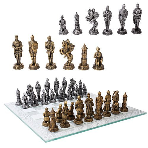 Ebros Medieval Warfare Age of Knights & Kings Resin Chess Pieces with Glass Board Set As Toys and Games Chess Set Board Game in Renaissance Ancient World Theme