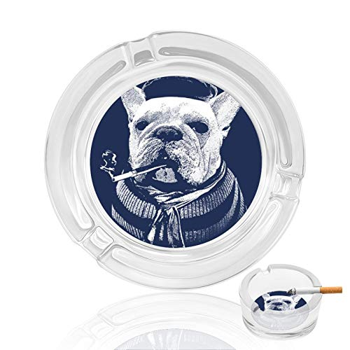 AUISS Glass Ashtrays for Cigarettes, French Bulldogs Cigarette Ash Tray with Non-Slip Mat fit Smokers Great Gift for Boyfriend for Home Office Indoor Outdoor Patio