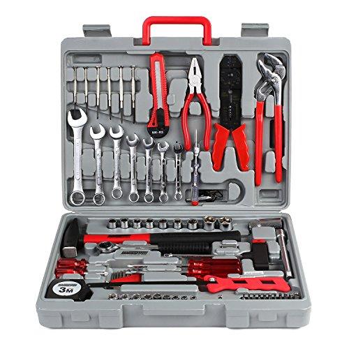 FIXKIT Werkzeugset im Koffer, 555 teilig Werkzeugkoffer, Werkzeug-Set Ideal Weihnachtsgeschenk für den Haushalt, Werkzeugkasten für den Haushaltsbereich Universal-Haushalts-Werkzeugkoffer