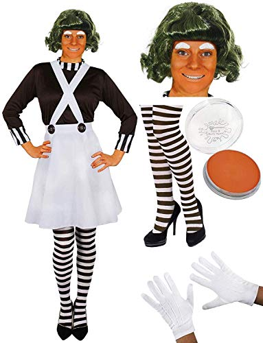 ADULT LADIES CHOCOLATE FACTORY WORKER FANCY DRESS COSTUME WITH WIG FACE PAINT AND EYEBROWS PERFECT FOR SCHOOL BOOK WEEK AND WORLD BOOK DAY OR ANY FANCY DRESS PARTY (LARGE UK 14-16)