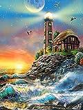 Kit de pintura de diamantes de paisaje de faro con bordado de diamantes 5D, punto de cruz, imágenes de diamantes de imitación junto al mar, manualidades, arte A6 40x50cm