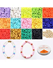 Goodern Heishi Beads, Flat Round Polymer Clay Beads,Jewelry Marking Bracelets Necklace Earring DIY Craft Kit with Flat Round Gold Beads, Loose Spacer Ceramic Vinyl Disc Beads