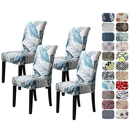 Howhic Chair Covers for Dining Room with Printed Patterns, Easy Slip-on Stretchy Dining Room Chair Covers Set of 4, Washable Dining Chair Covers,...