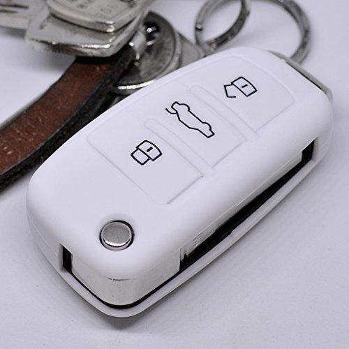 Soft Case Schutz Hülle Auto Schlüssel für Audi A1 S1 A3 S3 A6 S6 R8 Q7 Klappschlüssel Key Remote/Farbe: Weiß