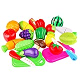 20 Pieces Kitchen Toys Fun Cutting Fruit and Vegetables Pretend Food Playset for Kids, Educational Play Food Set for Children Girls Boys Pretend Food Toys