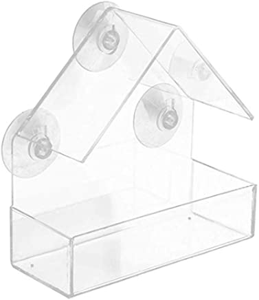 VWH Clear Glass Window Viewing Bird Feeder Hotel Table Seed Peanut Hanging Suction Alimentador