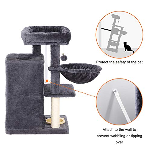 FEANDREA Multi-Level Cat Tree with Feeder Bowl, Activity Center Cat Furniture, Smoky Gray UPCT57G