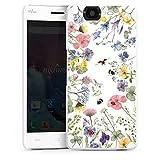 DeinDesign Hard Hülle kompatibel mit Wiko Highway Schutzhülle weiß Smartphone Backcover Biene Blumen Muster