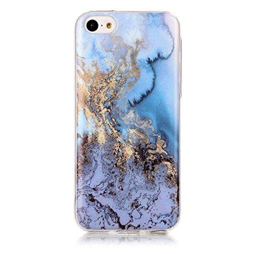 Lomogo iPhone 5C Hülle Silikon Marmor, Schutzhülle mit Marmormuster Stoßfest Kratzfest Handyhülle Case für Apple iPhone5C - YIHU23763#6