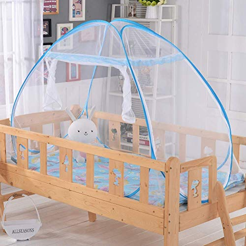 Pop-up Klamboe Cot Tenten babybed Bed Curtain Single deur for Kinderen, Blauw, 194 * 94cm QIANGQIANG (Color : Blue, Size : 162 * 82CM)