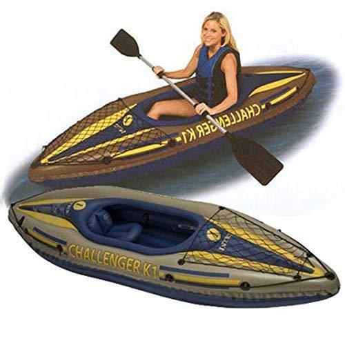 Intex K1 Challenger Kayak 1 Man Inflatable Canoe + OARS #68305 (New Green Model)