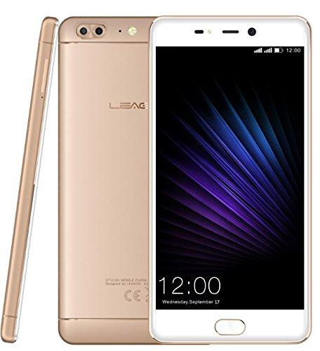 Leagoo T5-5,5 Zoll FHD Android 7.0 4G Smartphone, Ultra dünn (7.9mm) Triple Kameras (13MP + 5MP + 13MP), Octa Core 1.5GHz 4GB RAM 64GB ROM, Premium Metall Uni-Body - Gold
