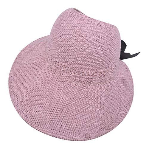 Vobery Sombrero de verano para mujer Floppy Beach para el sol, para ciclismo, ajustable, color rosa
