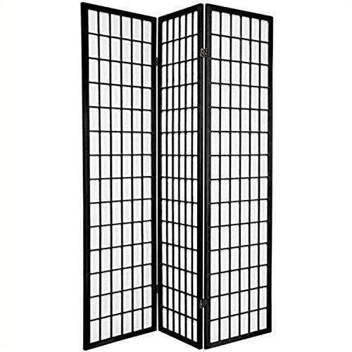 Oriental Furniture 6 ft. Tall Window Pane Shoji Screen - Black - 3 Panels