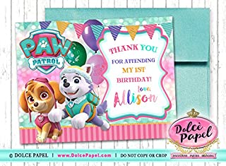 10 Paw Patrol Girl Birthday Pink and Teal Skye and Everest Custom Thank You Cards 4.25x5.5