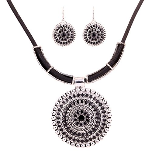 Yazilind Weinlese PU- Leder-Kette tibetischen Silber Runde Anhanger Bib Halskette Ohrringe Set Hochzeit (Schwarz)