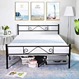 GreenForest Full Size Bed Frame with Headboard Metal Platform Bed Heavy Duty Reinforce Square Slats Support Mattress Foundation Base No Box Spring Needed, Black