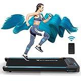 Cinta de correr con altavoces Bluetooth integrados, motor eléctrico de 440W para caminar, velocidad ajustable, pantalla LCD y contador de calorías, ultrafina y silenciosa para hogar la oficina (black)