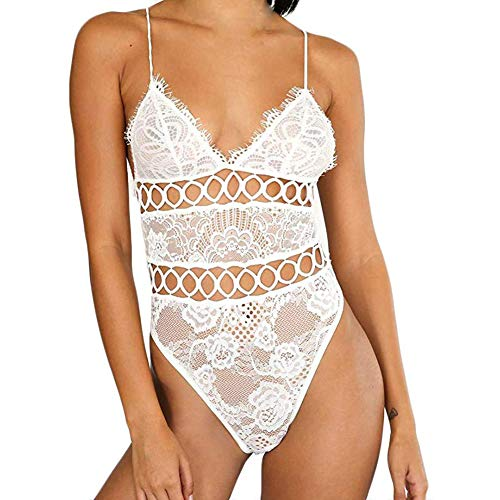 HXX Erotics Nachtwäsche Sexy Dessous Set Erotik Sexy Frauen Dessous Sexy Bra Panty Sets Spitzebabydoll Nachtwäsche Erwachsene Reizvolle Wäsche,Weiß,XXL