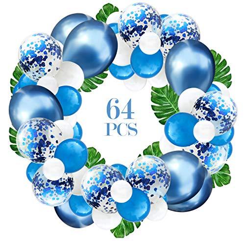 Jolintek Kit de Guirnalda de Globos de Azules Globos Metalicos, 64 Pcs Globos de Fiesta de Confeti Azul y Blanco Globos de Látex Hojas de Palma Cumpleaños Decoración de Fiesta Aniversario Baby Shower