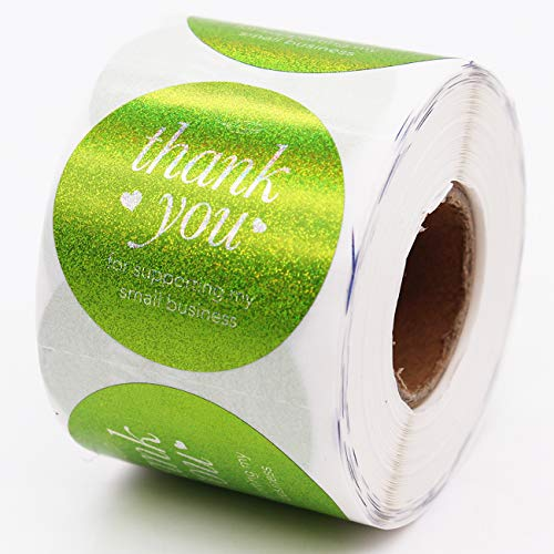 Muminglong Thank You for Supporting My Small Business Round Stickers, Thank You Sticker, Small Shop Sticker, Small Business, Packaging Sticker, Real Gold 500PCS, 1.5 inch, (Green)