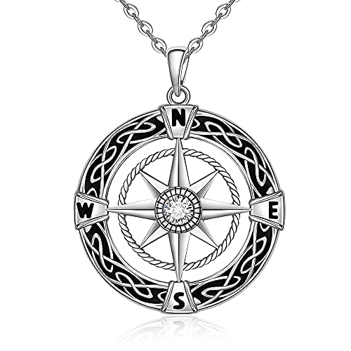 Compass NecklaceSterling Silver Celtic Knot Compass Friendship Necklace for Women Men Girls Talisman Travel Inspirational Graduation Jewelry Christmas Holiday Gifts