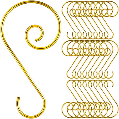 Tatuo 120 Pieces Christmas Ornament Hooks S Shape Hanger Hooks Swirl Scroll Ornament Hook for Christmas Tree Decorations Hanger (Gold)