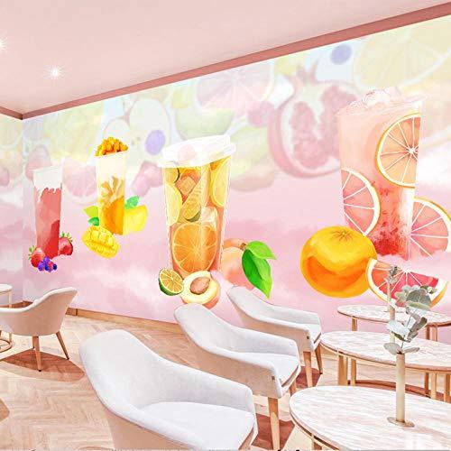 ARXBH Einfacher Handbemalter Rosa Dessertladen Des Früchtetees Wandbild Tapete Cafe Restaurant Wohnzimmer Romantischer Hintergrund Wandmalerei Wohnkultur Murales 3D (B) 450 × (H) 300 Cm, Selbstkleb
