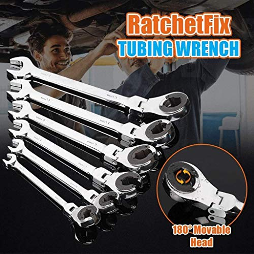 RatchetFix Tubing Wrench with Flexible Head,Set of 12Piece Ratcheting Combination Wrench Set