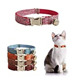 Personalized Cat Collar with Name Plate ,Adjustable Tough Nylon Cat ID Collars with Bell ,Customize Engraved Pet Name and Phone Number (Suit Style)