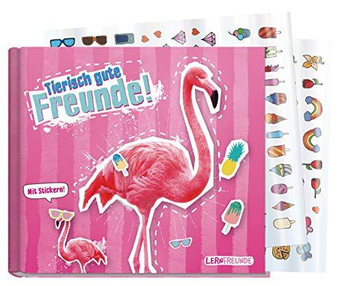 Freundebuch Schule für Mädchen [Flamingo] Hardcover Poesiealbum, liebevoll und witzig gestaltet - mit bunten Stickern! von Lernfreunde by Häfft | nachhaltig & klimaneutral