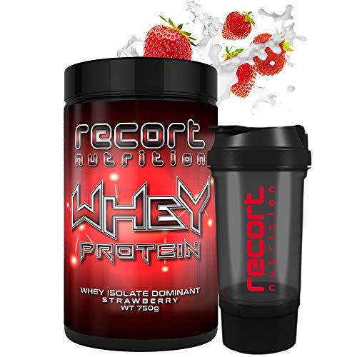Whey Protein (Erdbeer) mit Shaker, Premium Protein-Shake mit 82% Eiweiß für Muskelaufbau und Abnehmen, Eiweißpulver Made in Germany, Recort Nutrition