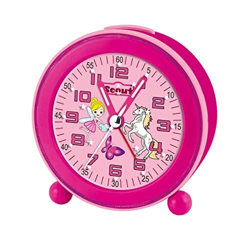 Scout 280001008 Maedchen-Wecker Elfe Einhorn Schmetterling Pink NightLight