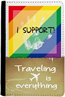 LGBT Rainbow Flag I Support Traveling quato Passport Holder Travel Wallet Cover Case Card Purse