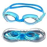 COPOZZ - Occhialini da nuoto per bambini (età 4 – 12), impermeabili, visione trasparente, anti appannamento, protezione UV, con telaio in silicone morbido, per bambini e bambine (azzurro)