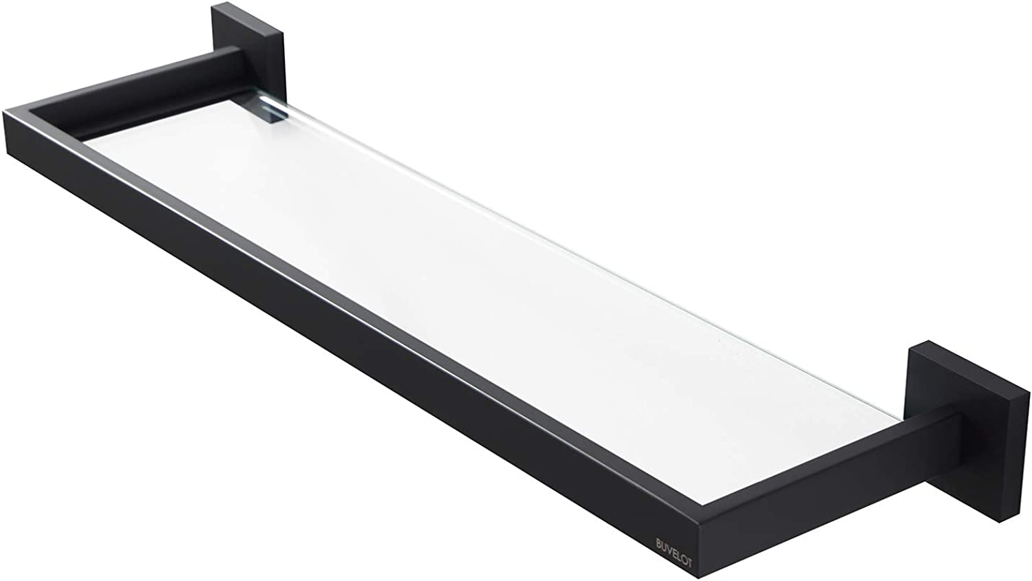 BUVELOT 071090-MB Bathroom Tempered Glass Shelf Modern Rectangular,Matte Black