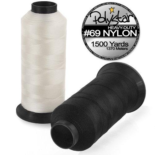 Polystar Heavy-Duty #69 Bonded Nylon Sewing Thread - 1500 Yard Spool - Black